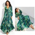 Long Sleeve Tropical Beach Green Vintage Maxi Dress – 2