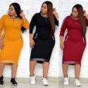 Half Lantern Cotton Dress For Plus Size