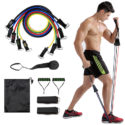 11 Piece Resistance Band Exercising Fitness Set