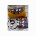 African Print 5 Piece Set 12 – Matching Purse Earstuds Neck Piece Bracelet and 1m Scarf