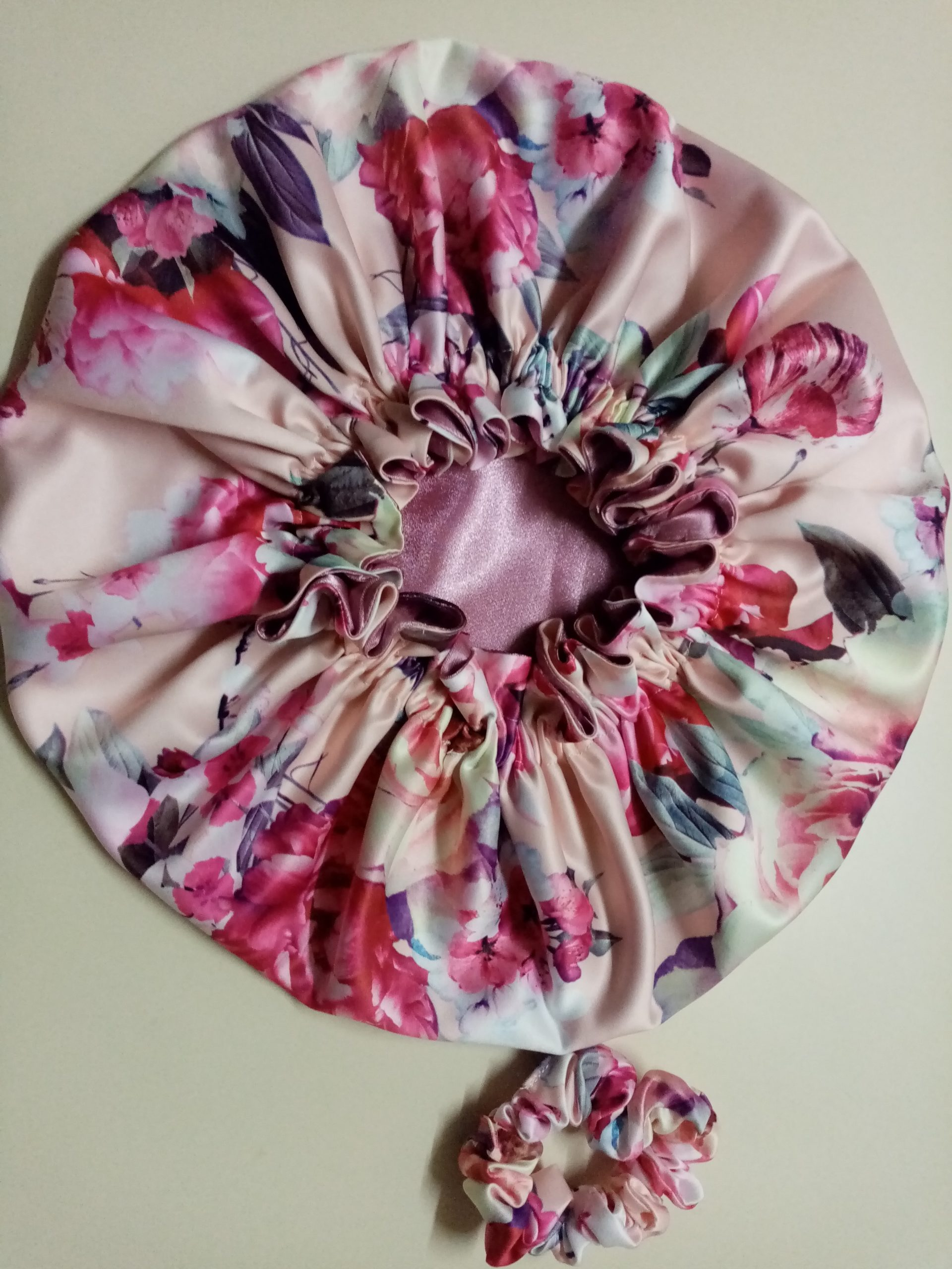 Floral and Dusty Pink Bonnet
