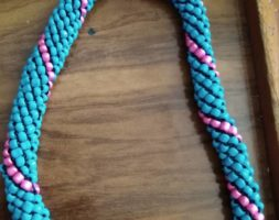 Deep sky blue and pink necklace