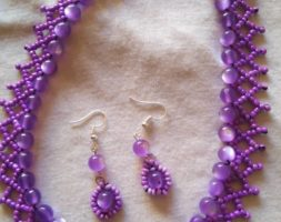 Purple net necklace with matching earrings