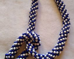 Blue and white necklace with matching bracelet
