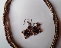 Plum and gold necklace
