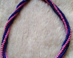 Hot pink and blue glass necklace