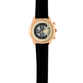 80743 – Rose Gold Plated Watch Black Genuine Leather Strap