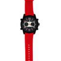 80742 – Matt Black Plated Analogue And Digital Watch Red Silicon Strap