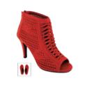 9026S – Red Faux Suede Laser Cut Open Toe Shoe