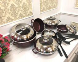 Maroon 10Pcs Dessini Granite Pots