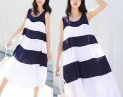 Loose Striped Sleeveless Dress