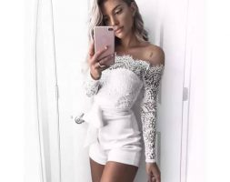 Off – Shoulder Long Sleeve Sheer Lace Playsuit