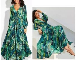 Long Sleeve Tropical Beach Green Vintage Maxi Dress – 2