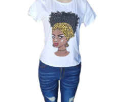 Melanin Poppin  Afro Graphic Print Women T – Shirt