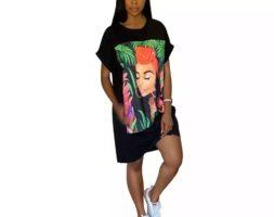 Casual Printed Short Sleeve Cotton Loose T-Shirt Women Dress
