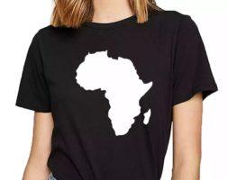 Women Africa Map Plain Comic Inscription Print T-Shirt
