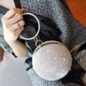Gold Ball  Wristlets Full Diamond Chrystals Mini Handbag