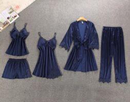 5 Piece Silk Women Robe Set