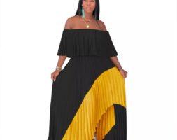 Off Shoulder Pleated Women Ruffle Long Maxi Dress