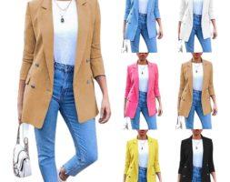 Women Fashion Casual Buttoned Blazer