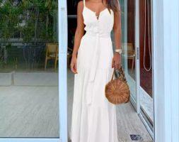 Women Long Boho Sleeveless Strappy V-neck Dress