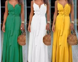 Women Long Boho Sleeveless Strappy V-neck Dress Beach Party