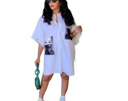 Printed Casual Streetwear Women Shirt Dress