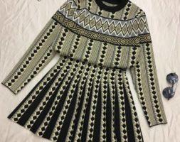 Premium Quality Geometric Classy 2 Piece – Sweater+Matching Skirt