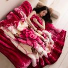 Super Soft Warm Fluffy Double Layer Mink Blanket For Queen Sized Bed