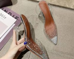 Transparent Rhinestone Chrystal Spike Pointed Toe Clear Heels