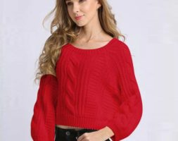 Winter Fashion Knitted Puff Sleeve Sweater