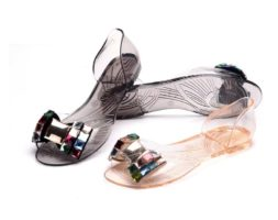 Women Jelly Transparent Bling Bow Tie Open Toe Flats Sandals