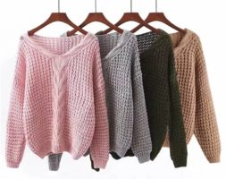 Women Knitted Winter Fashion Pullover Solid Long Sleeve V-Neck Sweater