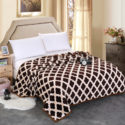 Brown and white winter throw blanket